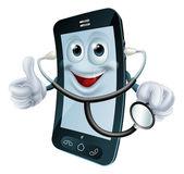 Kreslená postavička telefon drží stetoskop