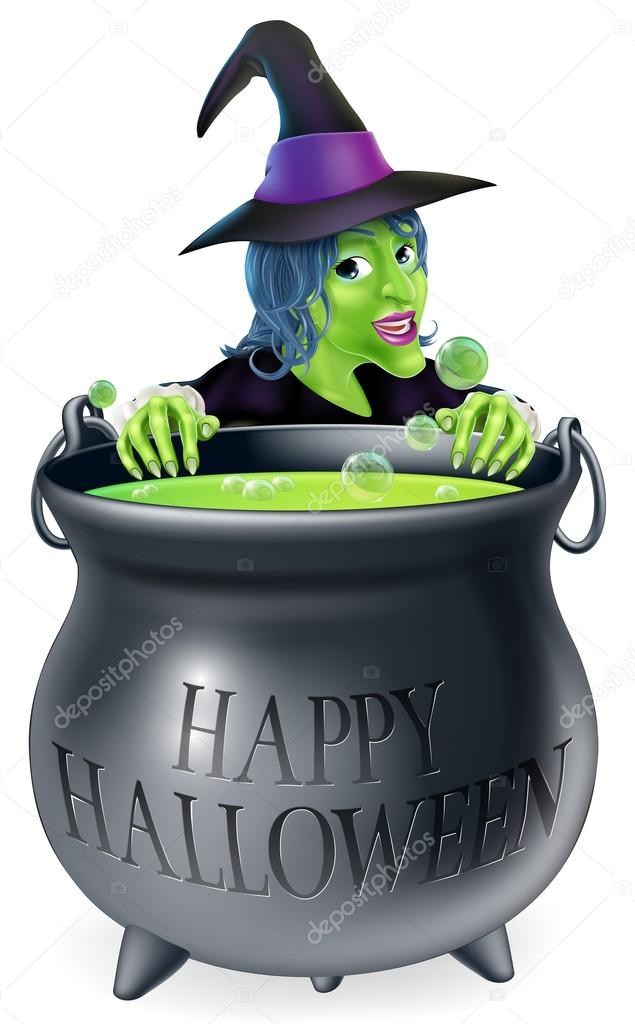 Halloween Witch and Cauldron — Stock Vector © Krisdog #33170445