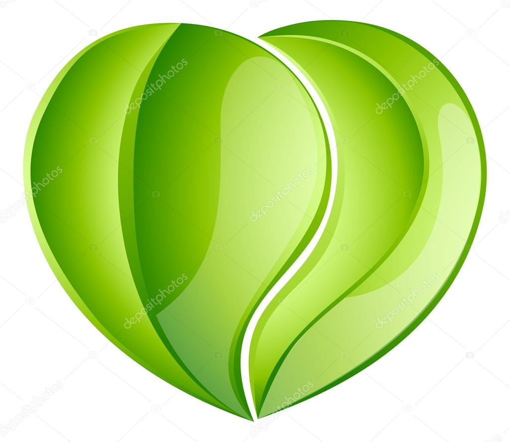 Environmental charity love leaf heart
