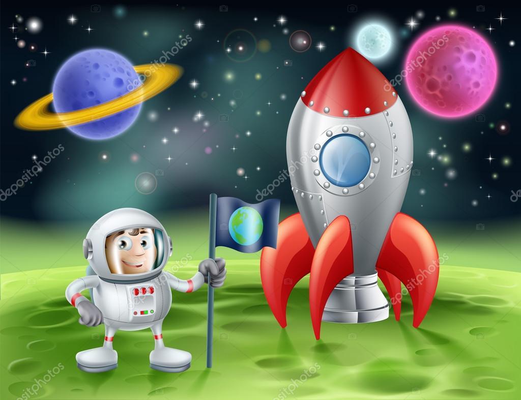 Cohete De Astronauta Y Vintage De Dibujos Animados
