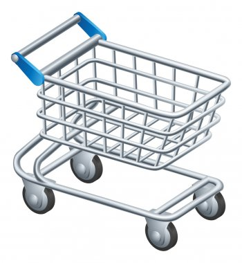 An illustration of a shopping trolley or shopping cart icon stock vector