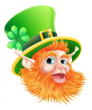 An illustration of a happy St Patricks Day Leprechaun Face clip art vector