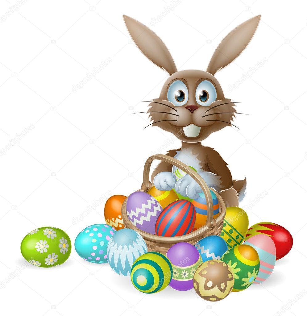 osterhase mit eierkorb — stockvektor © krisdog 38284833