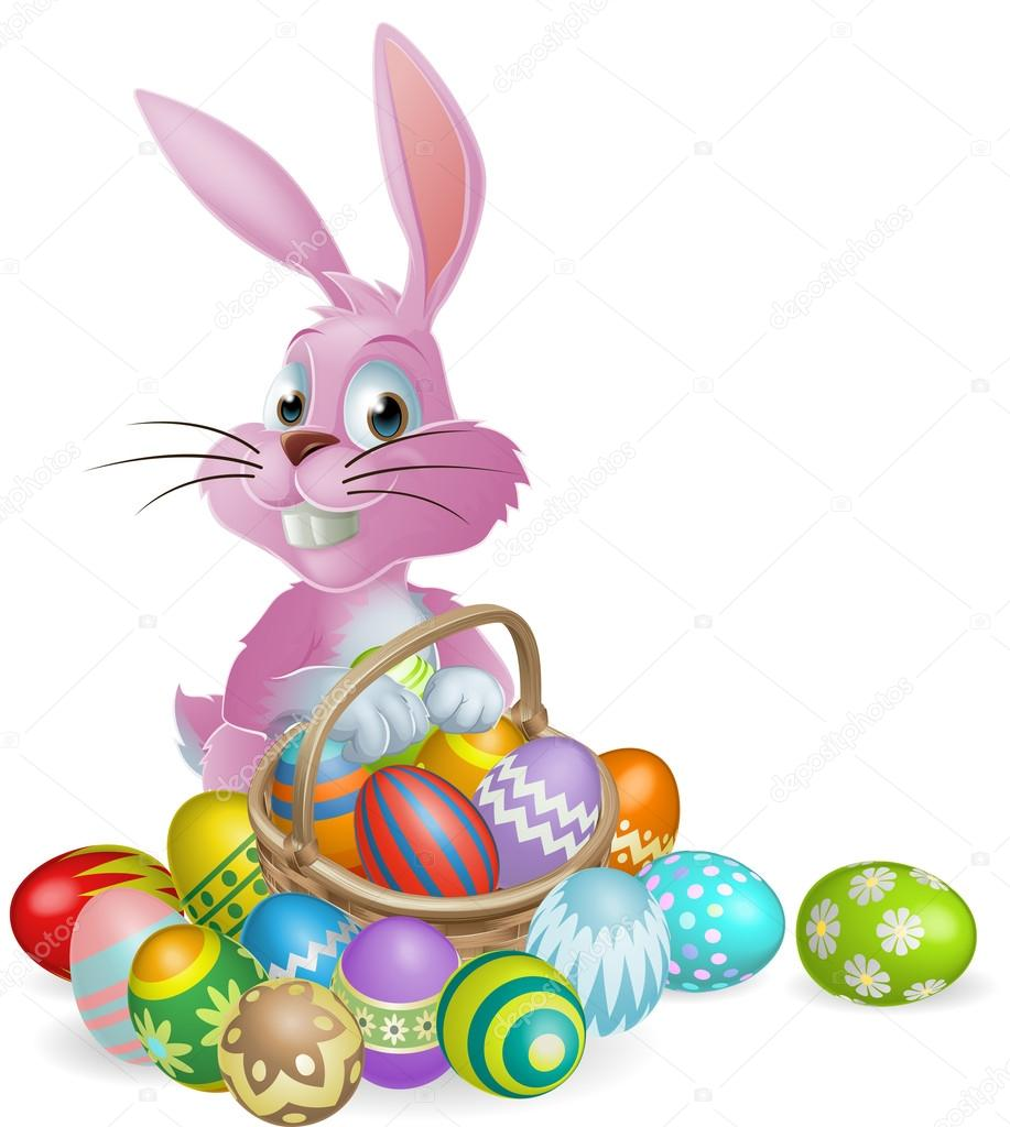 Easter eggs pink bunny — Stock Vector © Krisdog #38564131 for Easter Eggs In A Basket With A Bunny  585eri