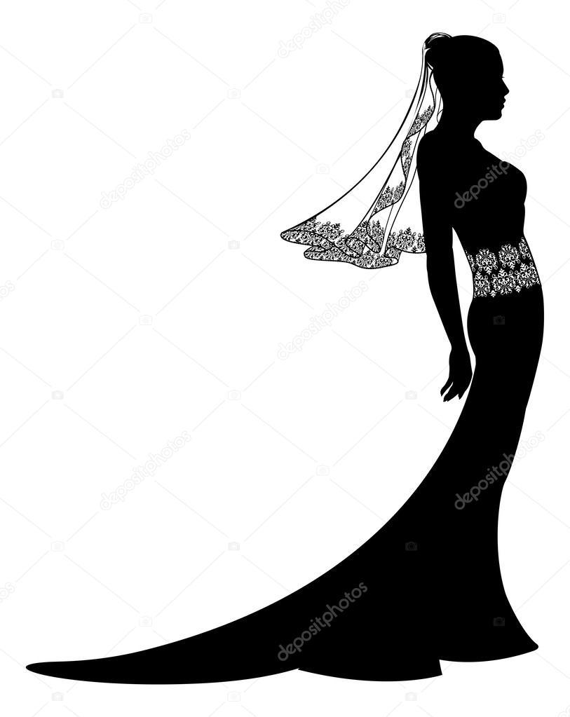 Esküvői ruha Silhouette mintás csipke fátyol és a ruha a menyasszony —  Vektorok Krisdog szerint b1c86fa562