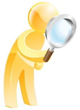 Magnifying glass gold person