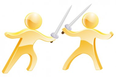 Sword fight concept of two gold men fighting with swords stock vector
