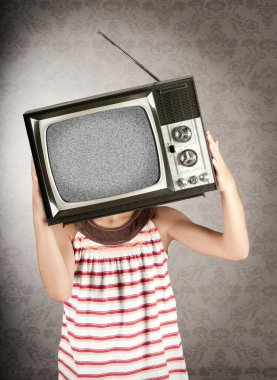 Little girl with old retro television on her head stock vector