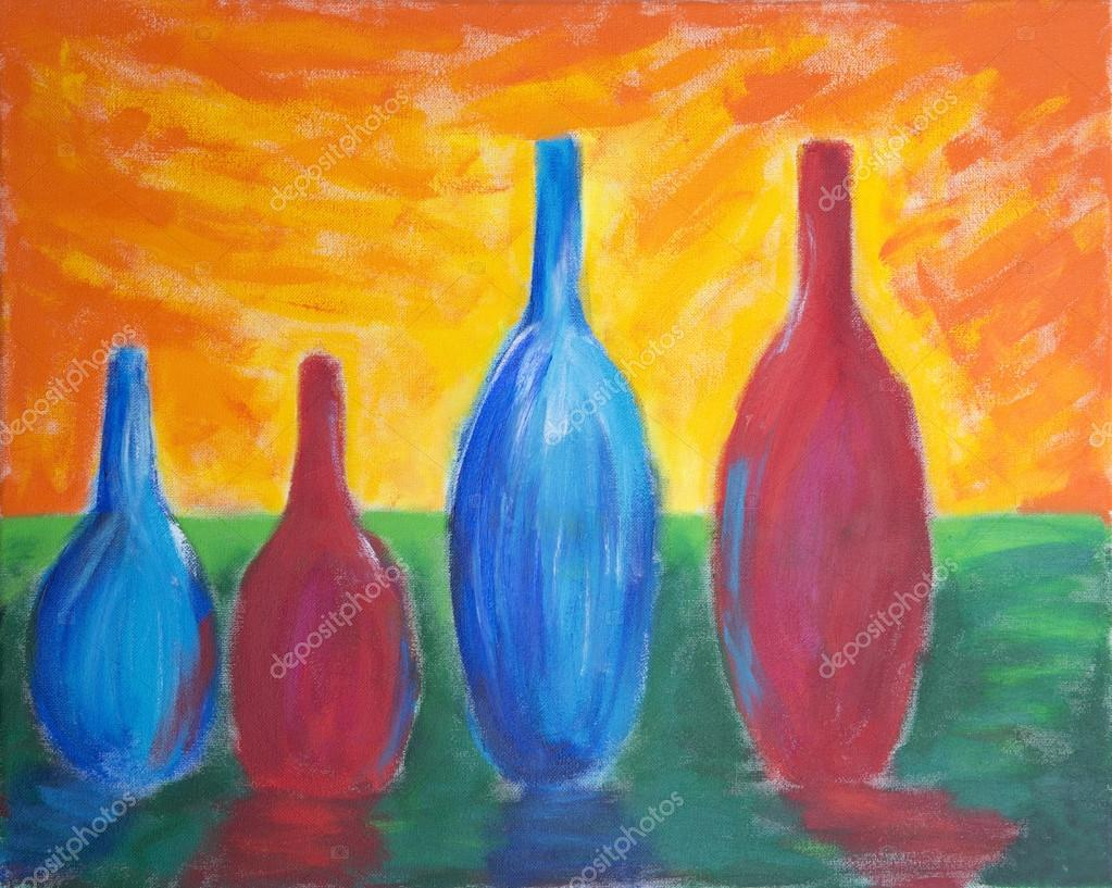 Painting of different sized bottles
