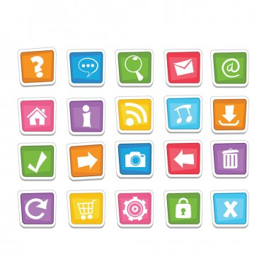 Collection of colourful funky web buttons for your designs. stock vector