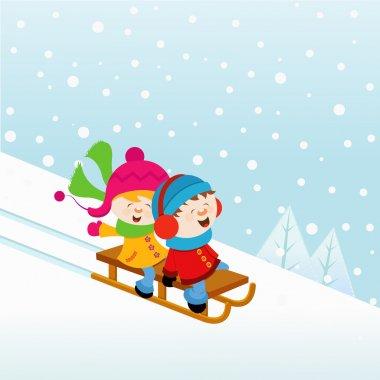 Kids Sledding on snow. stock vector