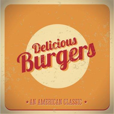 Delicious burger vintage American Classic vector stock vector