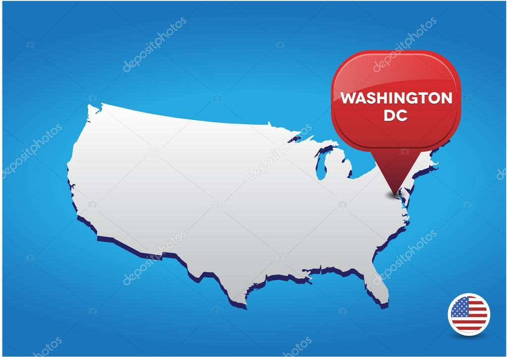 Washington DC On USA Map Stock Vector Grounder - Washington on map of usa