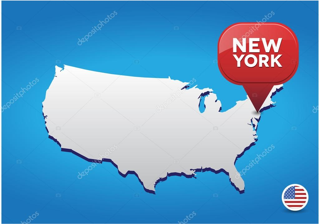 New York City On USA Map Stock Vector Grounder - New york in usa map