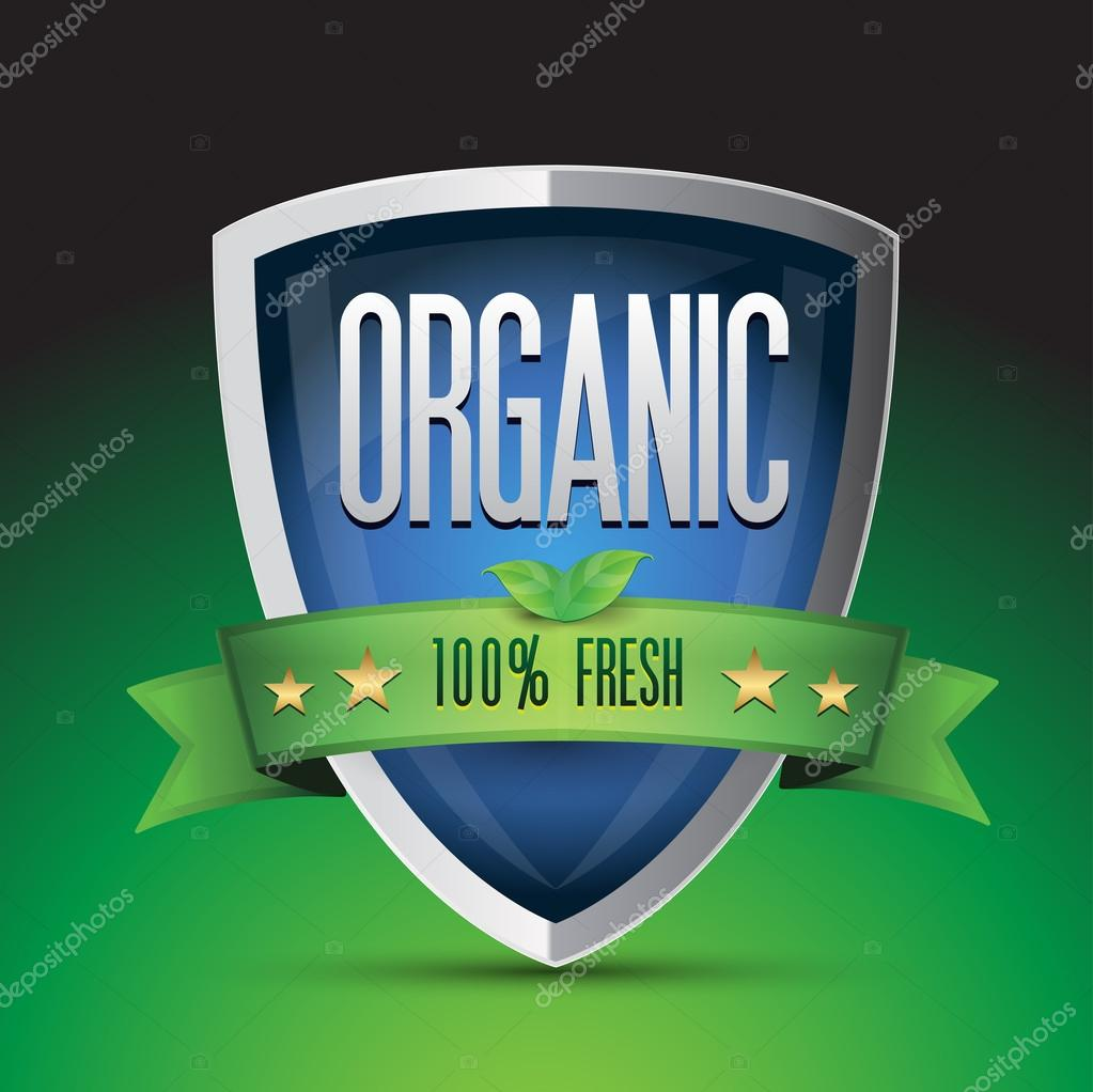 Organic 100 percent fresh on blue shield