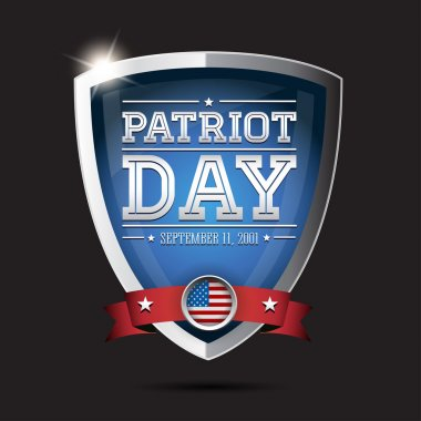Patriot day september 11, 2001 on shield