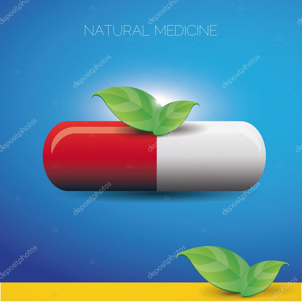 Natural medicine pill and green leaves