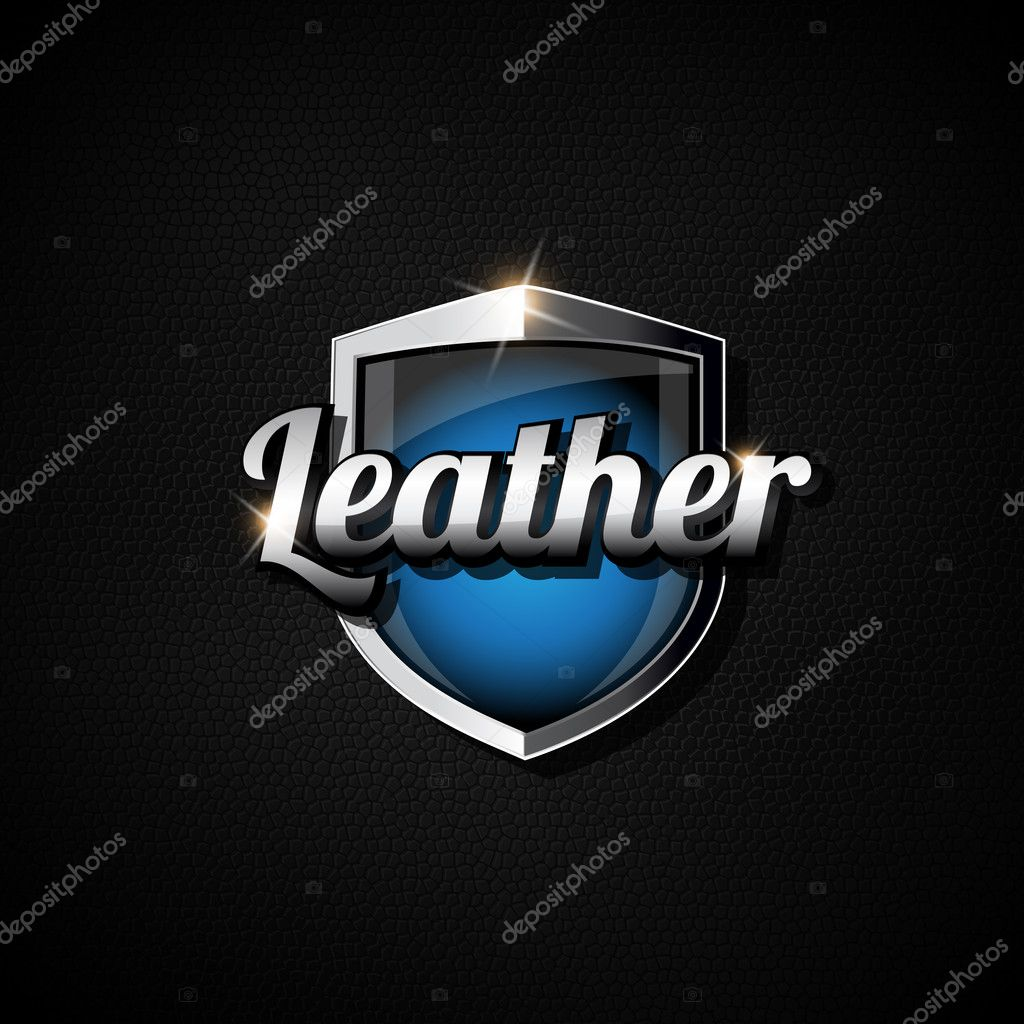 Black leather and metal tag shield blue