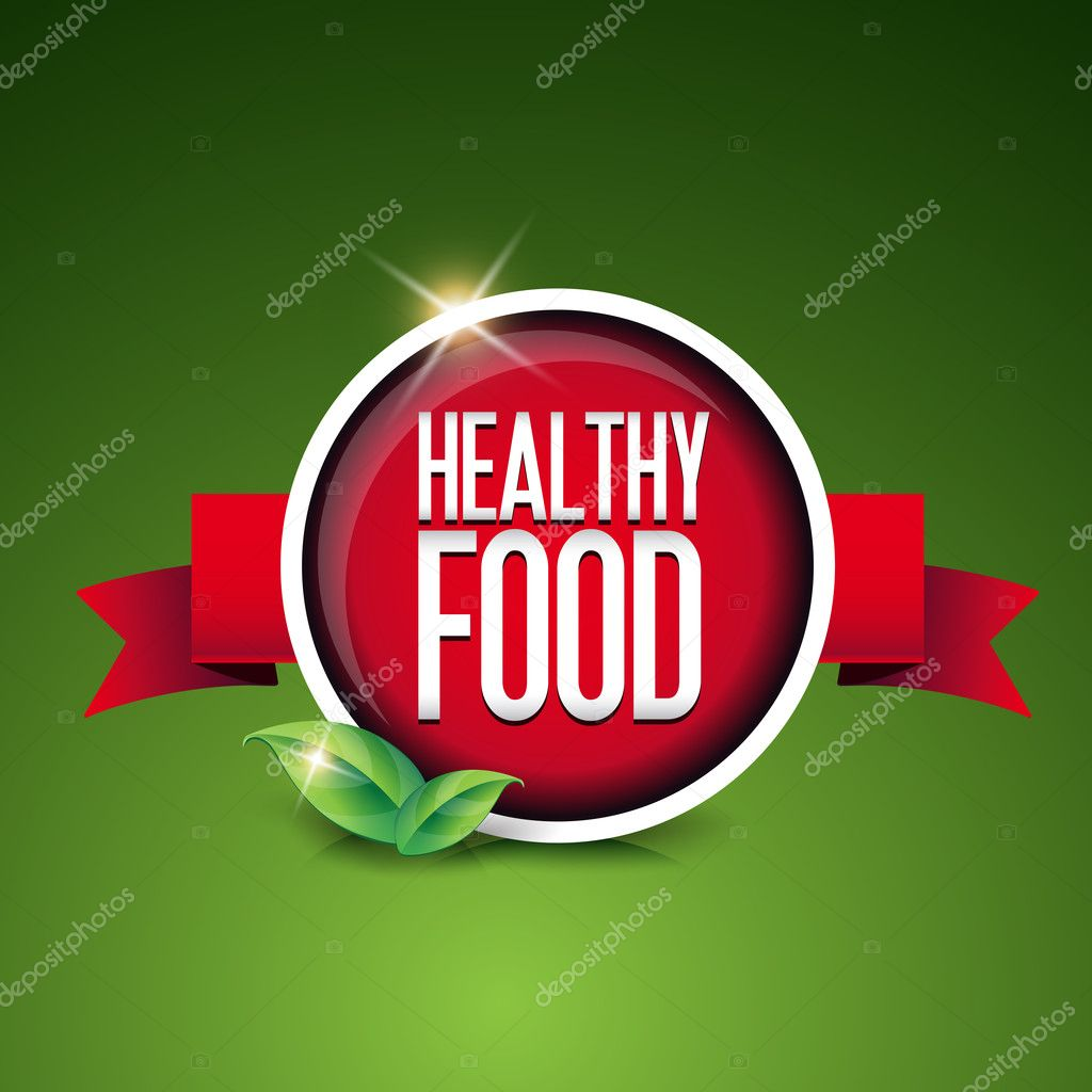 Healthy food button and ribbon