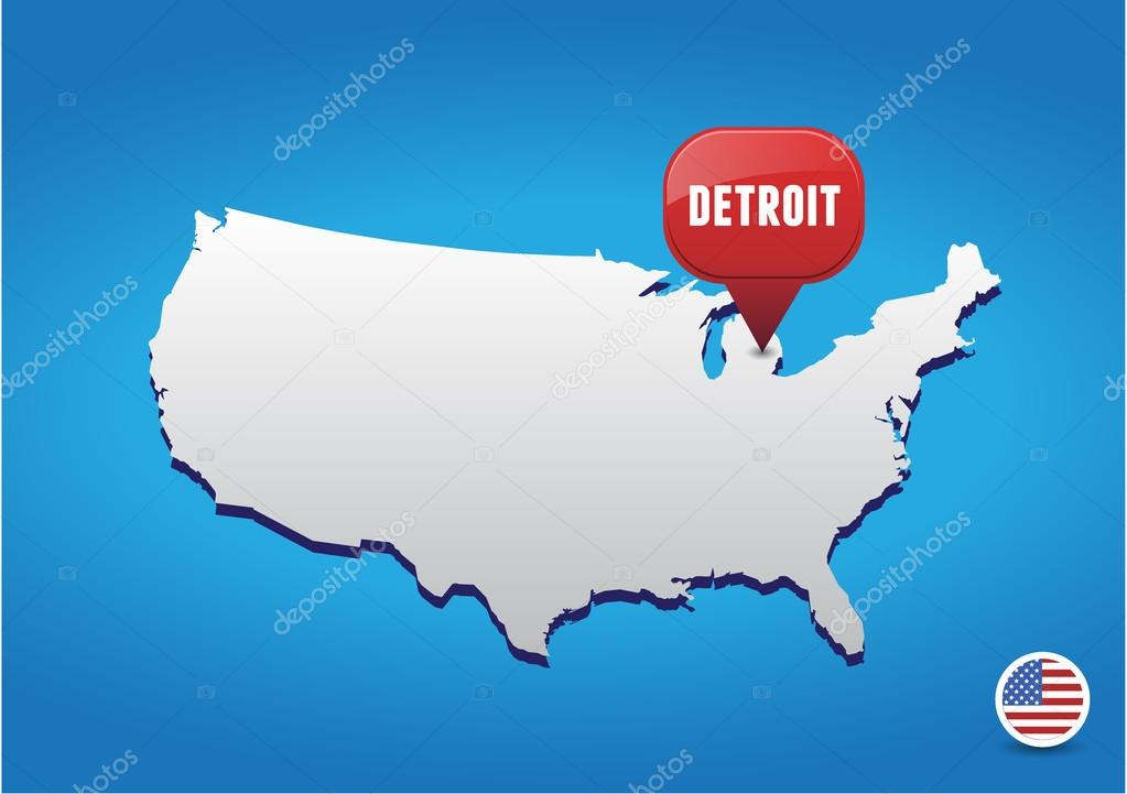Detroit In Usa Map.Detroit On Usa Map Stock Vector C Grounder 21011883