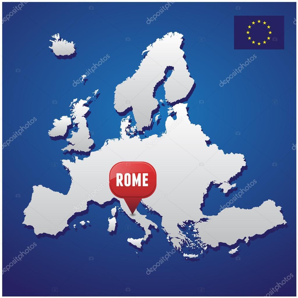 Rome On European Map And EU Flag Stock Vector Grounder - Eu rome map