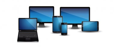 Realistic laptop, computer, tablet, smartphone vector