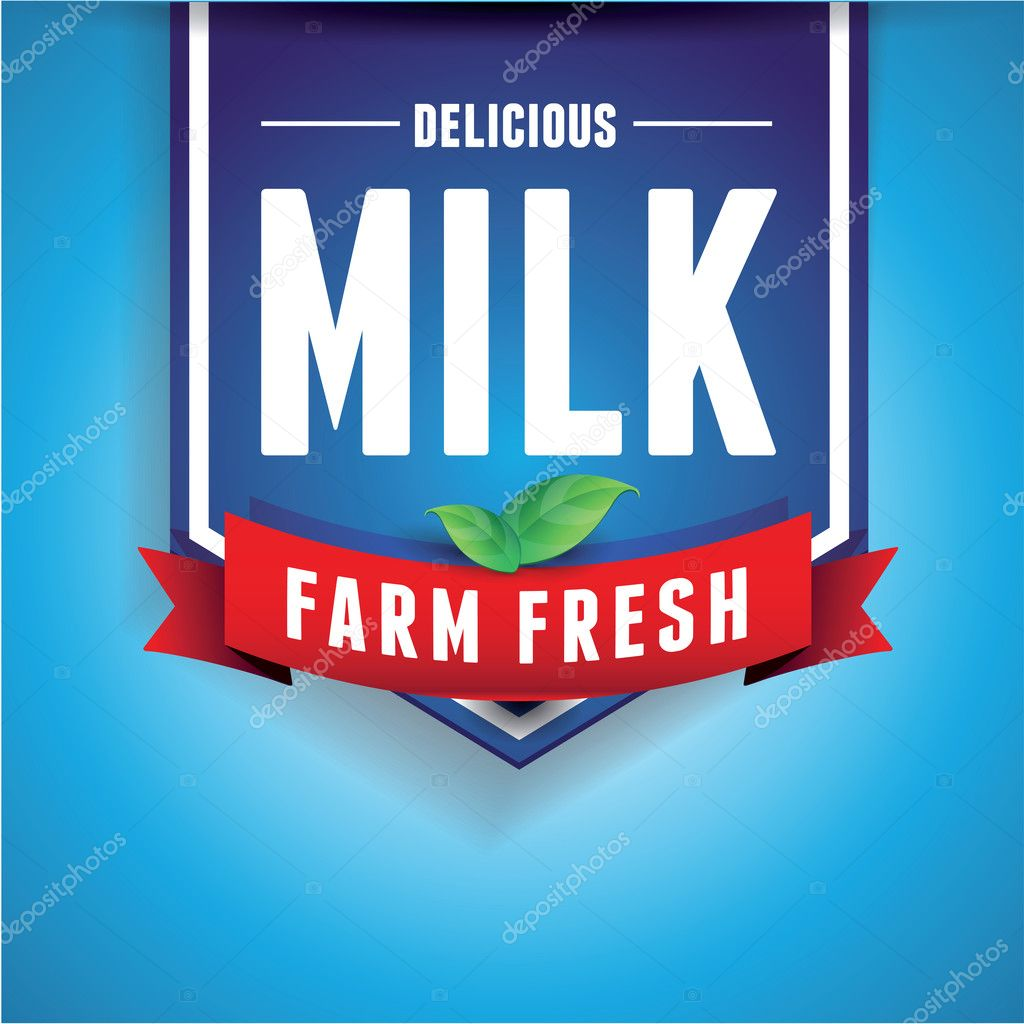 Milk label lettering - vector label and ribbon