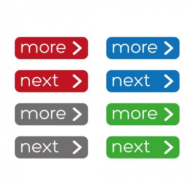 Nore or next button set. Flat design