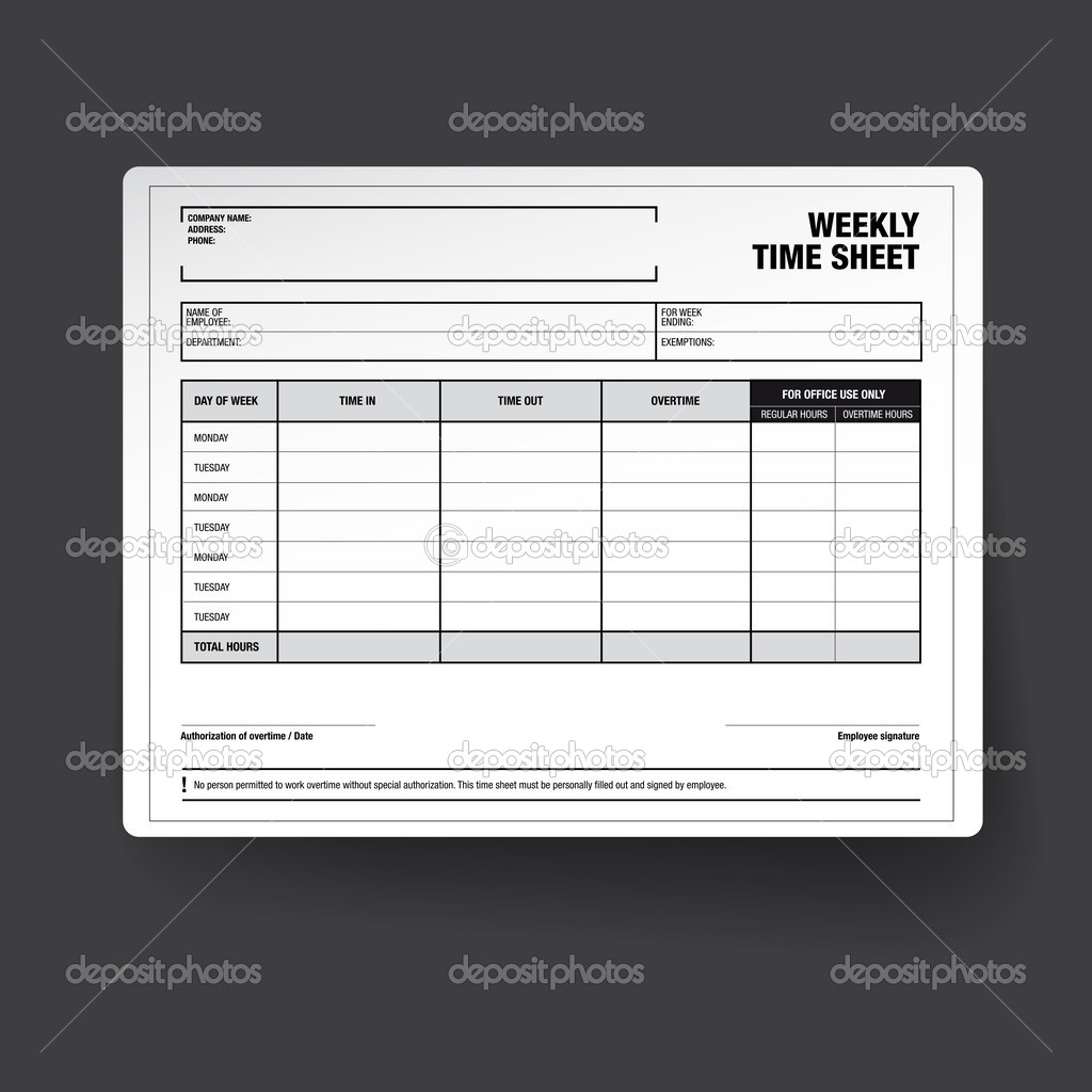 employee weekly time sheet template stock vector grounder 43458613