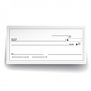 Template of blank banking check