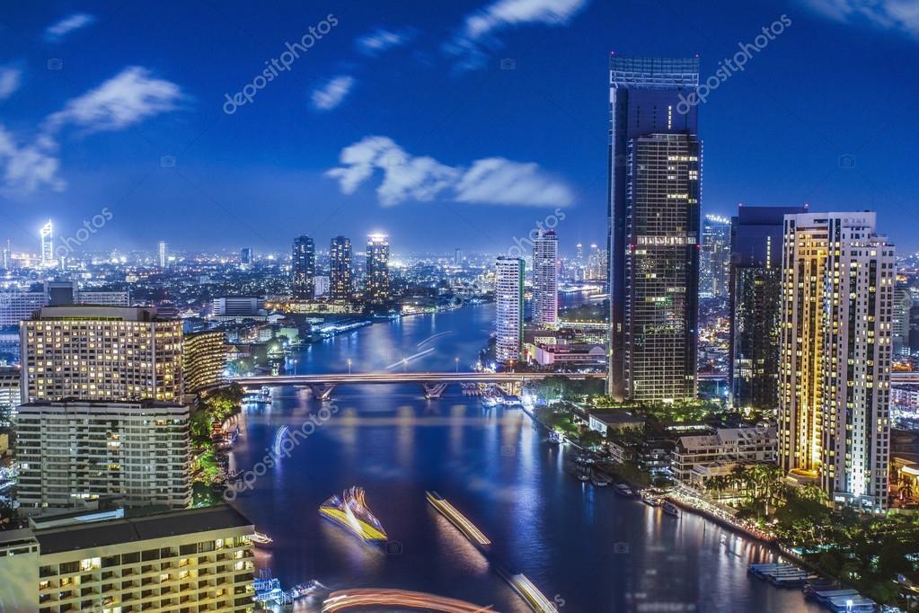 City town at night in Bangkok