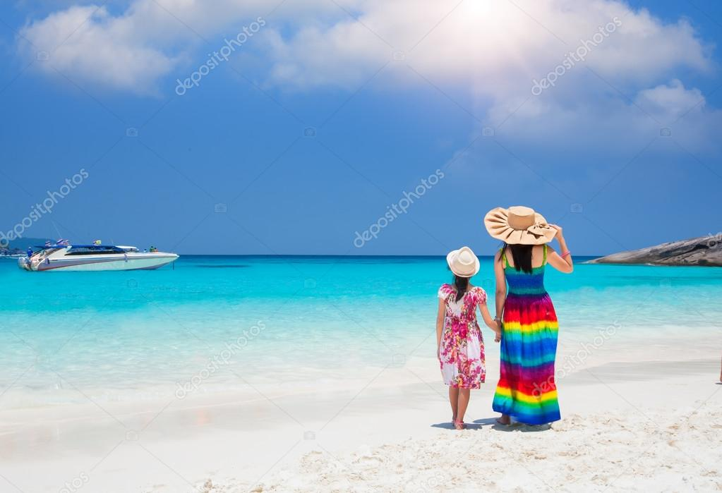 Asia mother and her daughter in Tropical beach, Similan Island