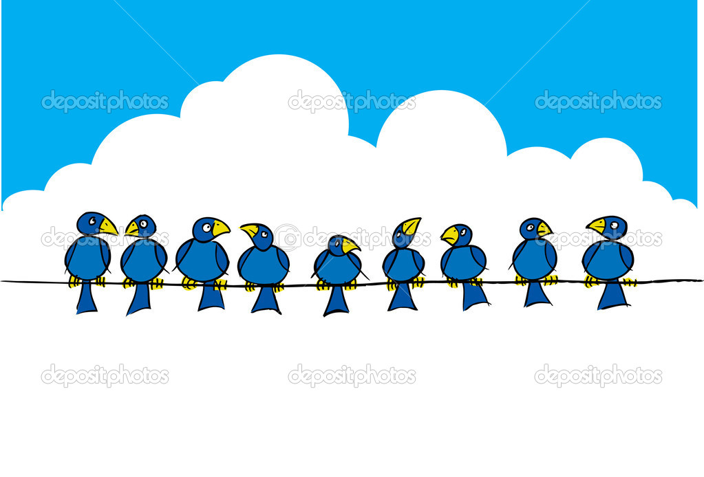 Vögel auf dem Drahtseil — Stockfoto © RobSnowStock #30084229