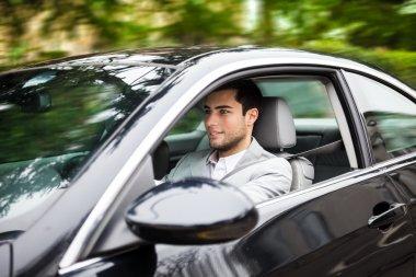 Portrait of a man driving a car stock vector