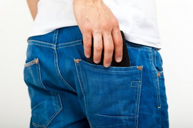 Man taking his wallet in his pocket