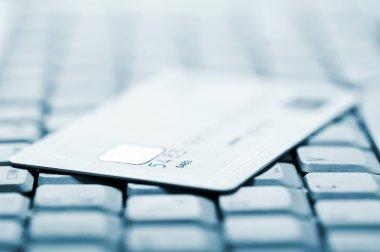 Credit card on a computer keyboard