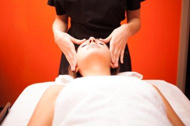 Beautiful woman having head massage stock vector