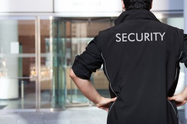 Security guard at work stock vector