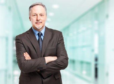 Senior businessman in modern office stock vector