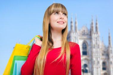 Woman shopping in Milan