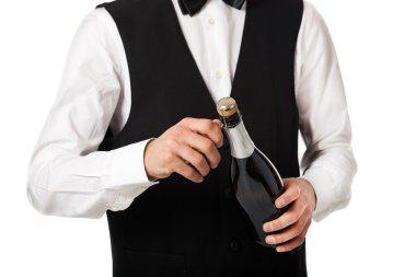 Waiter holding a champagne bottle