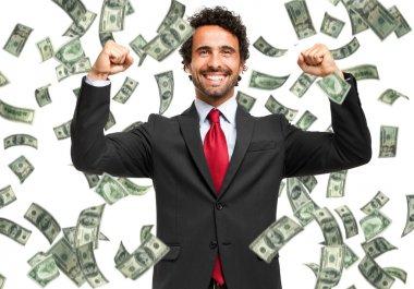 Man enjoying the rain of money