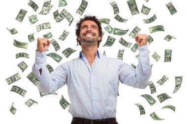 Man enjoying a rain of money