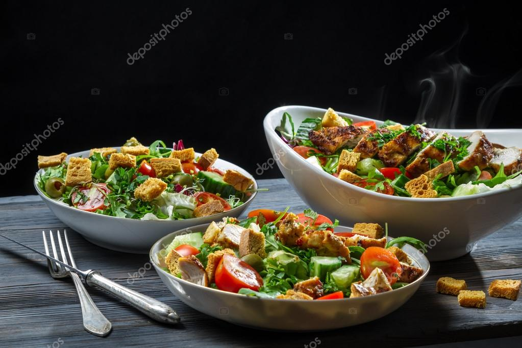 Fresh Vegetables And Roasted Chicken As A Healthy Food Stock Photo