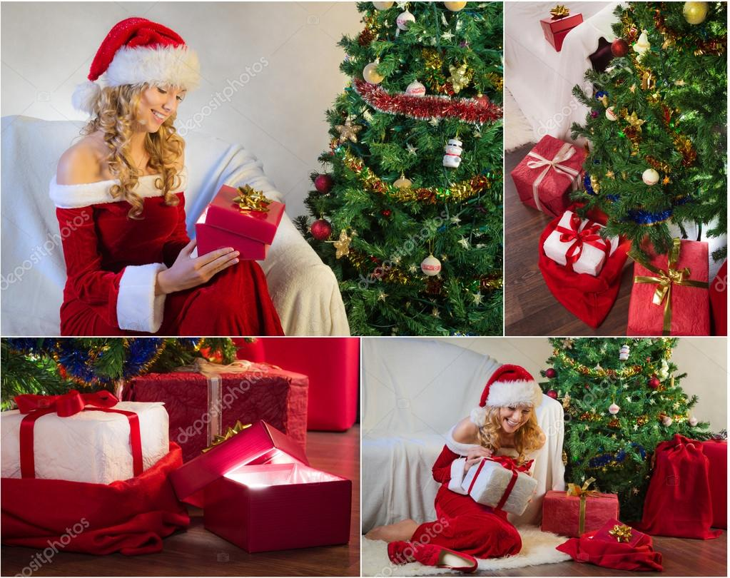 Postkarte zu Weihnachten mit Weihnachtsbaum und Geschenke Nr. 3 ...
