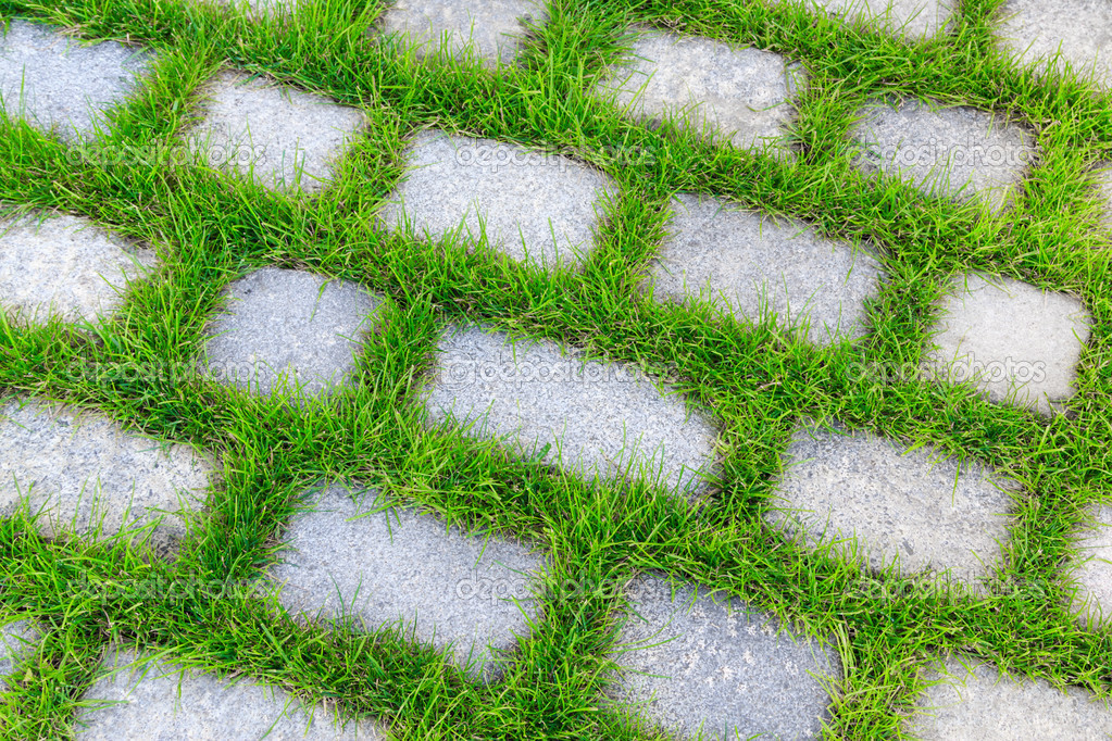 Stone Tiles With Grass In Between Stock Photo 169 Kyrien