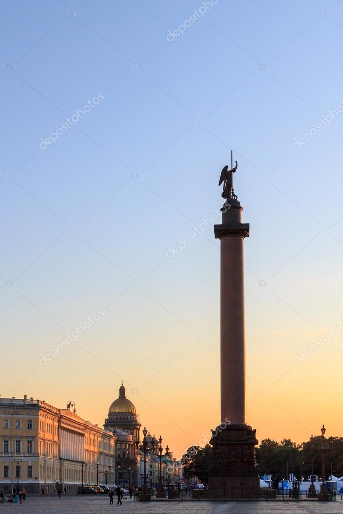 Alexander column on palace square at sunset