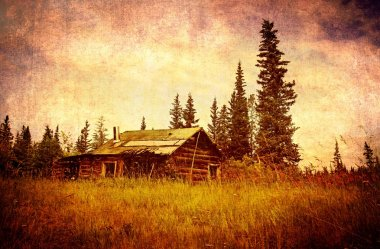 Classic old Alaskan abandoned log cabin in summer with textures added for a vintage look. stock vector