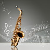 Fotografie Saxophone with musical notes