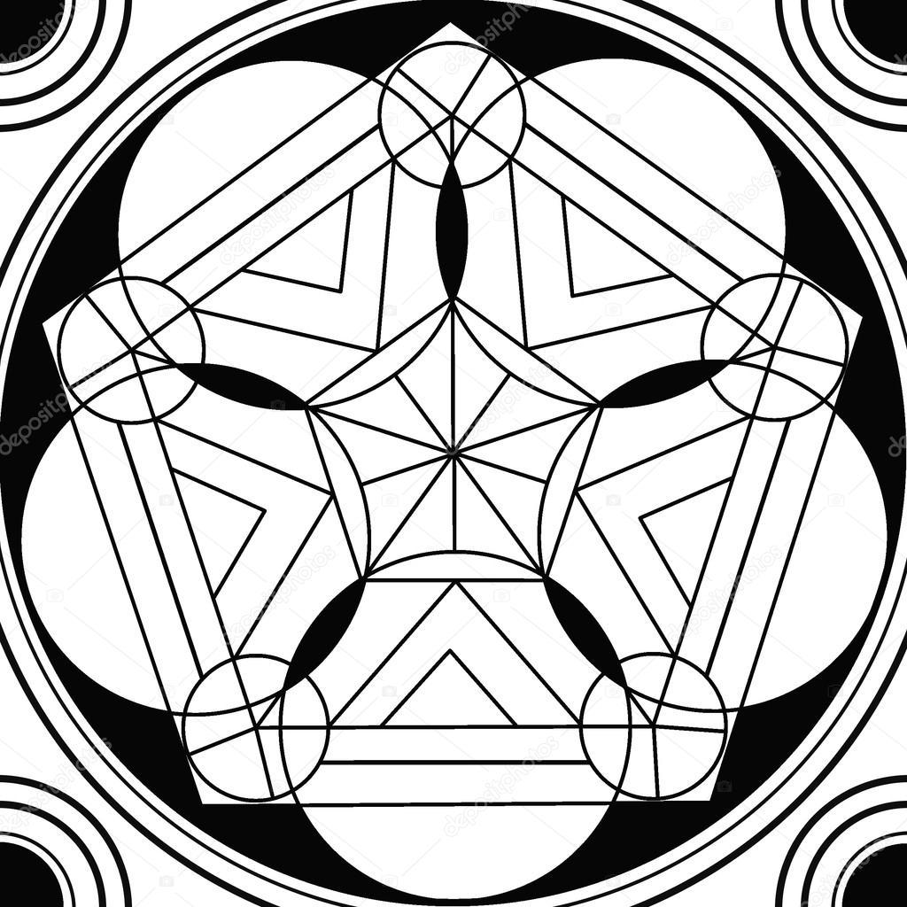 círculo sagrado dibujo geométrico mandala — Foto de stock ...